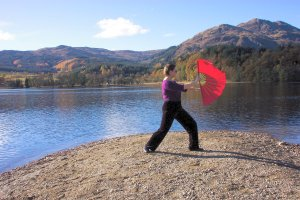 tai chi fan outside in the wind - a bit of a flutter