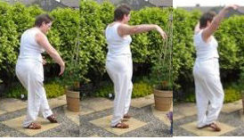home qigong  exercise- - gazing backwards at the moon