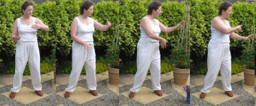 home qigong  exercise- - cloud hands in horse riding stance