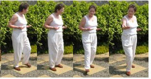 back exercise - holding the sun in one hand